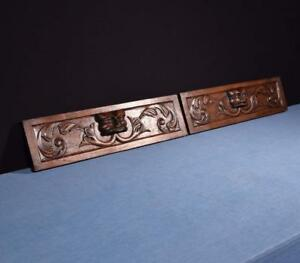 French Antique Carved Architectural Drawer Fronts Panels In Oak W Faces