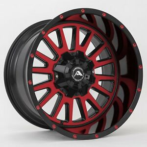 20x12 American Off road A105 5x114 3 Et 44 Black Red Tint Wheels set Of 4