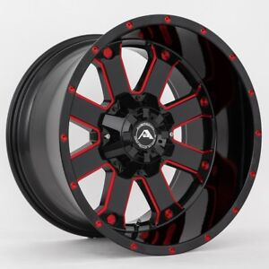 20x12 American Off road A108 5x114 3 Et 44 Black Red Tint Wheels set Of 4