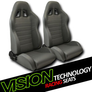 Jdm Sp Style Gray Pvc Leather Reclinable Racing Bucket Seats W Sliders Pair V10