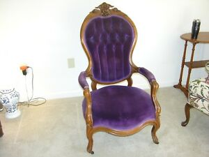 Victorian Lady S Chair Carved Upholstered Antique