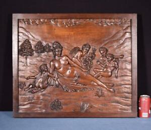 Large French Antique Deep Carved Architectural Panel Solid Oak Wood With Venus