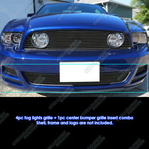 For 2013 2014 Ford Mustang Gt Bumper Fog Cover Black Billet Grille Combo