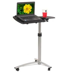 Adjustable Height Computer Laptop Table Rolling Sit stand Notebook Desk