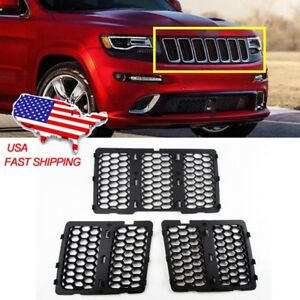 For 2014 2016 Jeep Grand Cherokee Chrome Front Grill Mesh Grille Insert Kit 3pcs