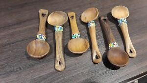 6 Carved Primitive Wood Wooden Spoons With Beads Kitchen Home Decor