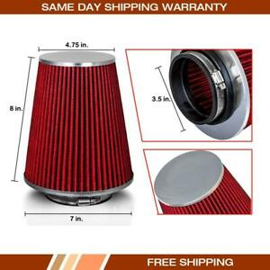 3 5 Inch Long Performance High Flow Cold Air Intake Cone Filter Red