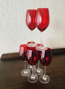 10 Vintage Walther Ruby Red Crystal Wine Goblets Glasses Collectibles