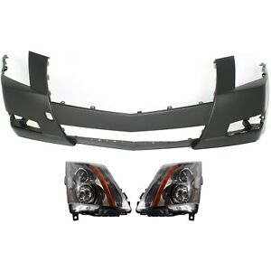 Bumper Cover Headlight For 2008 2014 Cadillac Cts Kit