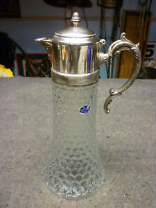 Fb Rogers Glass Silver Plate Chiller Carafe Pitcher Wine Decanter Italy Crystl