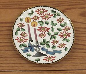 Vintage Cloisonne Enamel Plate Christmas Theme Holly Leaves Candles 7 Chinese