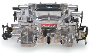 1805 Edelbrock Carburetor Thunder Series 4 barrel 650 Cfm Manual Choke Satin Fin
