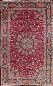 One Of A Kind Large Vintage Floral Persian Oriental Hand Knotted 10 X16 Red Rug