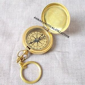 Brass Push Button Compass Nautical Decor Item Fully Functional