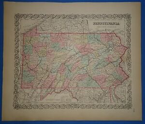 Vintage 1857 Pennsylvania Map Old Original Hand Colored Colton S Atlas