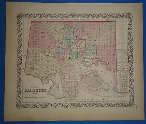 Vintage 1857 Baltimore Map Old Original Hand Colored Colton S Atlas