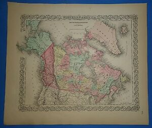Vintage 1857 British America Canada Map Old Hand Colored Colton S Atlas