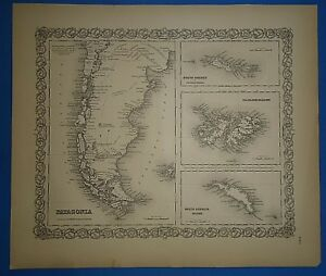 Vintage 1857 Patagonia S America Map Old Original Hand Colored Colton S Atlas