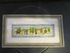 Antique Framed Persian Miniature Hand Painted On Bone