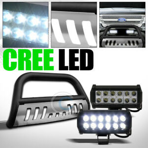 Fit 11 18 Ford Explorer Matte Blk Skid Bull Bar Bumper Guard 36w Cree Led Lights