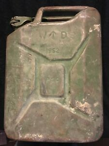 Metal Fuel Jerry Can Diesel Petrol Oil 20 Litre Green Military 1952