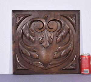 Antique French Renaissance Revival Panel In Solid Oak Wood With Heart Design