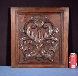 Antique French Highly Carved Panel In Oak Wood Salvage