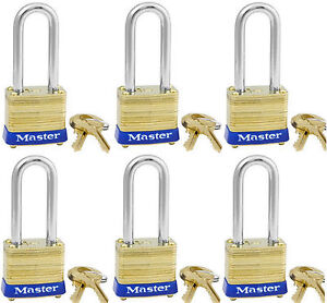 Locks By Master Brass 8kalf lot 6 Keyed Alike Matching Identical Long Shackle