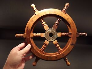 13 Vintage Antique Style Wood Nautical Ships Helm Steering Wheel