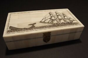 Antique Style Folk Whale Chase Scrimshaw Bone Wood Trinket Box