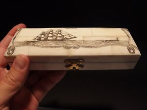 Antique Style Whale Chase Scrimshaw Etched Bone Wood Trinket Stamp Jewelry Box