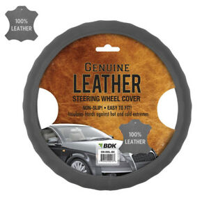 New Premium Genuine Leather Car Truck Gray Steering Wheel Cover 15 To 16