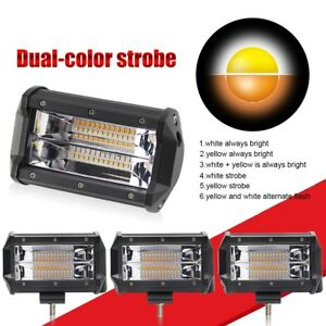 5inch Led Pods Light Bar Flood Fog Lamp Spot Amber White Light Dual Color Flash