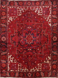 Large Vintage Geometric Heriz Serapi Persian Hand Knotted Red Area Rug 10x13