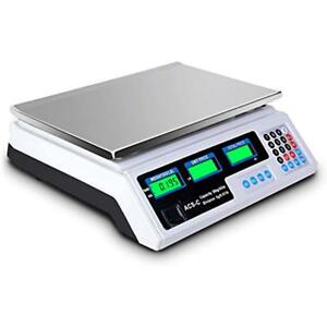 Digital Weight Scale Price Computing Retail Food Meat Scales Count 66lbs