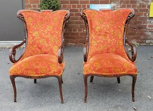 Pair Antique 1920s Carved Mahogany Hollywood Regency Upholstered Fireside Chairs