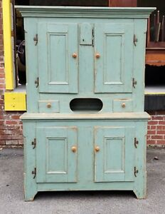 Antique 19th Century Country Distressed Painted Primitive Cupboard Cabinet