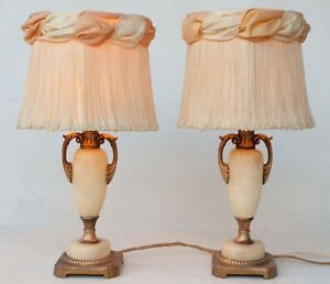 Vintage Pair Alabaster And Brass Table Lamps Need Rewiring Plus Period Shades