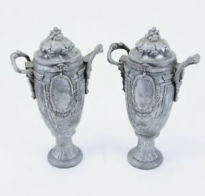 Antique Pair Of Pewter Grape Wheat Coat Of Arms 11 Tall Vase Urn Chalice Statue