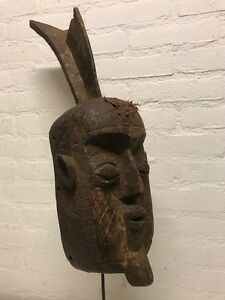 170605 Large Old Tribal Used African Mask From The Gurunsi Burkina Faso