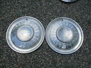 Lot Of 2 Genuine 1960 1961 Ford Thunderbird 14 Inch Hubcaps Wheel Covers