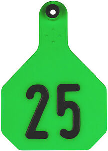4 Star Large Green Cattle Ear Tags Numbered 1 25