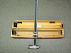 24 Starrett Vernier Height Gage 454 In Wooden Case See Pictures Clamp W 3