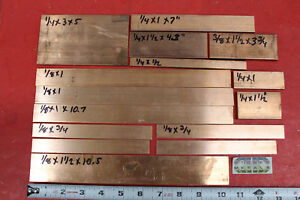 15 Pieces 1 8 1 4 3 8 C110 Copper Bar Solid Flat Mill Bus Bar Stock 6 6 Lbs