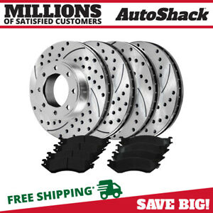 Front Rear 4 Drilled Slotted Rotors 8 Ceramic Pad For 03 2008 Dodge Ram 2500