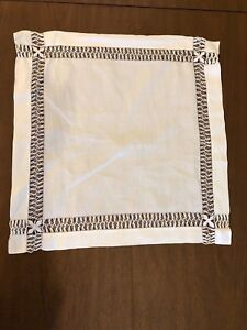 Antique Victorian Linen Drawn Work Lace Square Doily Table Runner Centerpiece