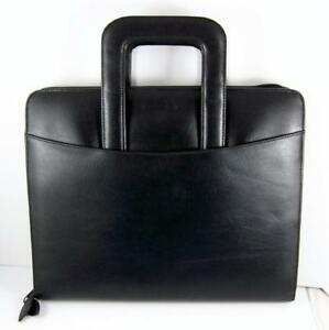 Franklin Covey Black Faux Leather Binder Briefcase Stow Handle Zip 7ring Planner