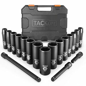 Tacklife Complete 1 2 Inch Drive Deep Impact Socket Set Metric Cr V 6 Point