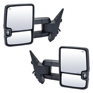 Towing Mirrors For 07 14 Chevy Silverado Gmc Sierra Power Heated Smoked Signal