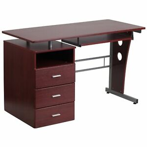 Gambit Mahogany Desk With 3 drawer Pedestal And Pull out Keyboard Tray